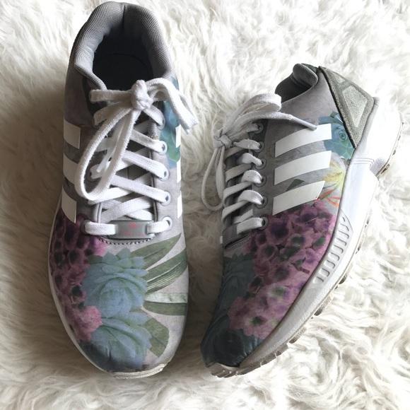 outlet store 2da0d d8378 adidas Shoes - Adidas ZX FLUX Size 8.5 Gray Floral Sneakers